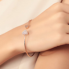 Women's Bangles Cuff Bracelet Basic Love Fashion Costume Jewelry Rhinestone Gold Plated Alloy Heart Jewelry For Wedding Party Birthday