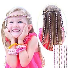 Corde cheveux bouclés de 6pcs 24cm rose enfants