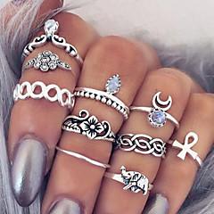 Naisten Tyylikkäät sormukset Kokosormen sormus Bohemia Style Eurooppalainen Muoti Vintage Personoitu pukukorut Gemstone Metalliseos