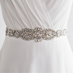 Satin Wedding / Party/ Evening Sash-Sequins / Beading / Rhinestone / Imitation Pearl Women's 98 ½in(250cm)Sequins / Beading / Rhinestone