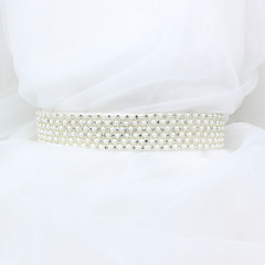 Satin Wedding Party/ Evening Dailywear Sash-Beading Rhinestone Imitation Pearl Women's 98 ½in(250cm) Beading Rhinestone Imitation Pearl