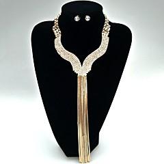 Šperky 1 x náhrdelník 1 x pár náušnic Svatební šperky Soupravy Jedinečný design Módní Svatební Párty Slitina Štras 1Nastavte žluté zlato