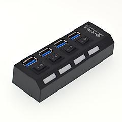 4 port usb 3.0 høyhastighets hub med bryter