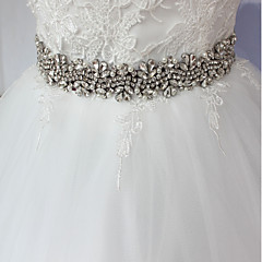 Satin/ Tulle Wedding Special Occasion Anniversary Birthday Party/ Evening Sash-Rhinestone Imitation Pearl Appliques Rhinestone Imitation