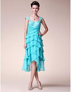 גזרת A לב (סוויטהארט) באורך הקרסול א-סימטרי שיפון תחרה שמלה לאם הכלה  - תחרה קפלים בד בהצלבה על ידי LAN TING BRIDE®
