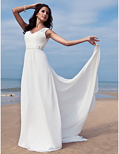 Sheath / Column V-neck Floor Length Chiffon Wedding Dress with Beading Sash / Ribbon by LAN TING BRIDE®