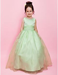 aラインボールガウンの床の長さフラワーガールのドレス - サテンのノースリーブの宝石の首lan tingbride®