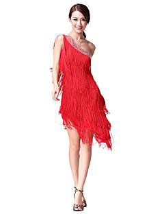 Latinské tance Šaty Dámské Taneční vystoupení Bavlna Polyester Jeden díl Bez rukávů Přírodní Šaty