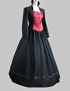 Yksiosainen/Mekot Klassinen ja Perinteinen Lolita Lolita Cosplay Lolita-mekot Musta Patchwork Runoilija Pitkähihainen Pitkä Pituus