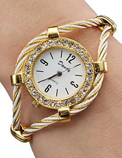 לנשים שעוני אופנה שעון צמיד קווארץ סגסוגת להקה מדבקות עם נצנצים צמיד זהב זהב