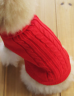 Kedi Köpek Kazaklar Köpek Giyimi Klasik Sıcak Tutma Tek Renk Kırmzı Yeşil Pembe Açık Mavi Navy Mavi