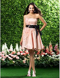 A-Linie Princess Bez ramínek Ke kolenům Organza Šaty pro družičky s Mašle Nabírání Květina(y) Šerpa / Stuha podle LAN TING BRIDE®