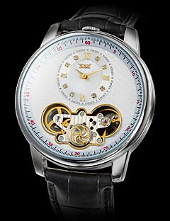 Herren Armbanduhr Mechanische Uhr Automatikaufzug Transparentes Ziffernblatt Leder Band Luxuriös Schwarz Weiß Schwarz