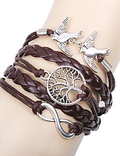 Dame Charm-armbånd Læder Armbånd Wrap Armbånd Enkelt design Venskab Flerlags Håndlavet Personaliseret kostume smykker Læder Kærlighed