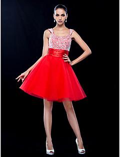 tscouture®によるビーディング付きaラインスクープネックショート/ミニチュールウエディングドレス