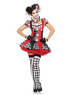 Cosplay Kostumer Festkostume Burlesk/Klovn Festival/Højtider Halloween Kostumer Rød Patchwork Kjole Hovedstykke Armbånd Handsker Halskæde