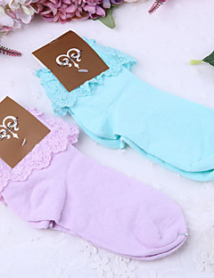 Sokken en kousen Schattig Lolita blauw Paars Lolita-accessoires Sokken Effen Voor Kant Polyester