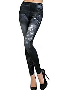 vrouwen elastische vlinder afdrukken imitatie jeans leggings