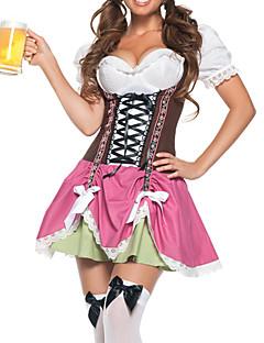 Cosplay Kostumer Festkostume Tjenestepige Kostumer Oktoberfest Festival/Højtider Halloween Kostumer Lyserød Patchwork Kjole Halloween Jul