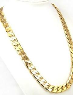 Homens Mulheres Colares em Corrente Formato Circular Chapeado Dourado Moda Personalizado Clássico bijuterias Jóias Para Diário Casual