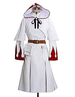 Inspiré par Final Fantasy White Mage Vidéo Jeu Costumes de cosplay Costumes Cosplay Imprimé Blanc Manche LonguesRobe / Châle / Ceinture /
