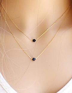 Γυναικεία Κρεμαστά Κολιέ πολυεπίπεδη Κολιέ Κρυστάλλινο Πετράδι Φυσικό Μαύρο Round Shape Πετράδι Κρύσταλλο Γέμιση χρυσού Βασικό Μοντέρνα