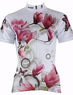 ILPALADINO サイクリングジャージー 女性用 半袖 バイク ジャージー トップス 速乾性 抗紫外線 高通気性 モイスチャーコントロール 後ポケット ポリエステル100% 花/植物 春 夏 サイクリング/バイク ホワイト