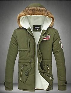 コート レギュラー パッド入り 男性,カジュアル/普段着 プラスサイズ ソリッド コットン コットン 長袖