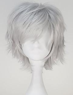 Perucas de Cosplay Tokyo Ghoul Ken Kaneki Cinzento Curto / Reto Anime Perucas de Cosplay 32 CM Fibra Resistente ao Calor Masculino