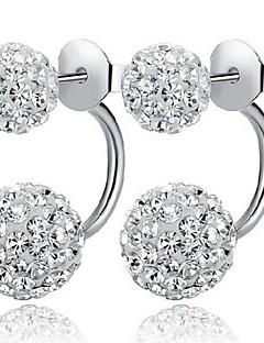 Damen Ohrstecker Gestlyte Ohrringe Vorne Hinten Modeschmuck Klassisch Simple Style Sterling Silber Kubikzirkonia Diamantimitate Kugel