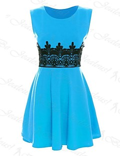 Women's Casual/Daily A Line / Skater Dress Round Neck Above Knee Sleeveless Blue / Pink / Black / Purple Spring / Summer / Fall