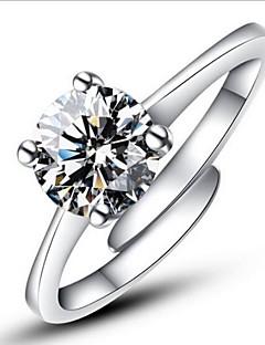 Kadın's İfadeli Yüzükler Nişan yüzüğü Aşk Ayarlanabilir Moda Açık Klasik kostüm takısı Som Gümüş Simüle Elmas Dört Tırnaklı Mücevher