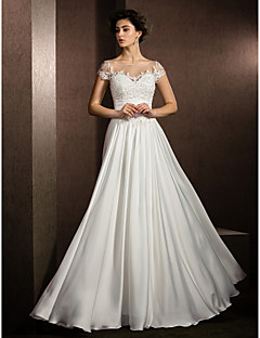 A-Line Scoop Neck Floor Length Satin Chiffon Wedding Dress with Beading Appliques by LAN TING BRIDE®