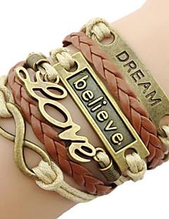 Herre Dame Charm-armbånd Læder Armbånd Enkelt design Kærlighed Europæisk Mode Vintage flettet Indledende smykker Personaliseret Flerlags