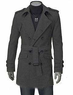 צבע אחיד צווארון פיטר פן איכות גבוהה משרד / קריירה רשמי רחוב חג מולד מעיל גברים,סתיו חורף שרוול ארוך רגיל לא זמין