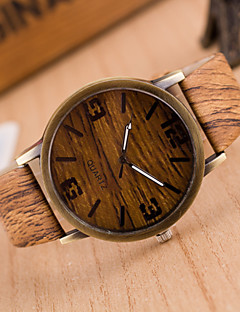 Herren Armbanduhr Uhr Holz Quartz PU Band Grau Khaki 2 # 3 # 4 # 5 # 6 #