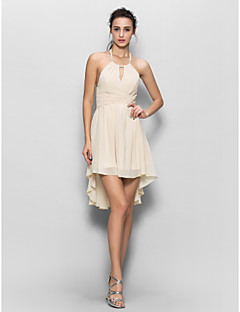 מעטפת \ עמוד קולר א-סימטרי שיפון שמלה לשושבינה  עם תד נשפך על ידי LAN TING BRIDE®