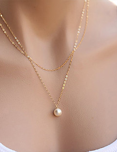 Γυναικεία Κρεμαστά Κολιέ Coliere cu Perle Κοσμήματα Μαργαριτάρι Κράμα Μοντέρνα μινιμαλιστικό στυλ Διπλή στρώση κοστούμι κοστουμιών