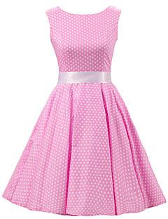 Women's Pink White Mini Polka Dot Dress , Vintage Sleeveless 50s Rockabilly Swing Short Cocktail Dress