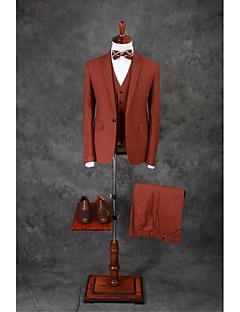 Suits Moderno Italiano Comum 1 Butão Misto de Algodão Cor Solida 3 Peças Marrom Escuro Lapela Reta Duas Pregas Marrom Escuro Duas Pregas