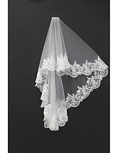 Véus de Noiva Duas Camadas Véu Ruge Véu Ombro Véu Ponta dos Dedos Borda com aplicação de Renda Tule Branco Marfim