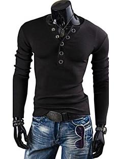 Men's Solid Button Slim T-shirt, V Neck Long Sleeve