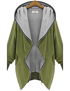 Uden ærmer Medium Dame Sort Grøn Ensfarvet Forår Efterår Vinter Vintage Plusstørrelser Frakke,Bomuld