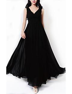 여성 쉬폰 스윙 드레스 홀리데이 플러스 사이즈 정교한 디테일 솔리드,V 넥 맥시 민소매 폴리에스테르 여름 높은 밑위 약간의 신축성 얇음