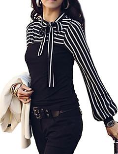 Bomull Annet Hvit Sort Medium Langermet T-skjorte Stripet Alle sesonger Plusstørrelser Dame