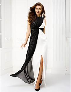 Sheath / Column Bateau Neck Floor Length Chiffon Prom Formal Evening Dress with Criss Cross by TS Couture®