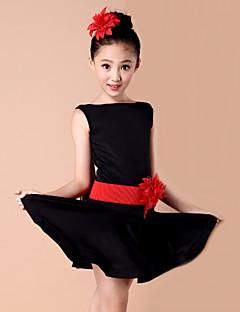 ריקוד לטיני שמלות בגדי ריקוד ילדים ביצועים ספנדקס מילק פייבר פרח (ים) 2 חלקים שמלות חגורהS :58 M :61 L :64 XL :67 XXL :71 XXXL :75