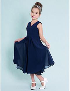 A-Şekilli V-Yaka Diz Altı Şifon Çocuk Nedime Elbisesi ile Haç Dantelalar tarafından LAN TING BRIDE®