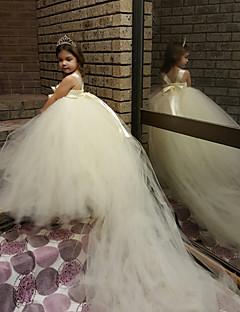μπάλα φόρεμα δικαστήριο τρένο λουλούδι φόρεμα κορίτσι - πολυεστέρα αμάνικα σπαγγέτι ιμάντες με λουλούδι από thstylee