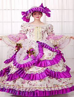 Uma-Peça/Vestidos Lolita Clássica e Tradicional Steampunk® Vitoriano Cosplay Vestidos Lolita Cor Única Manga Longa Comprimento Longo